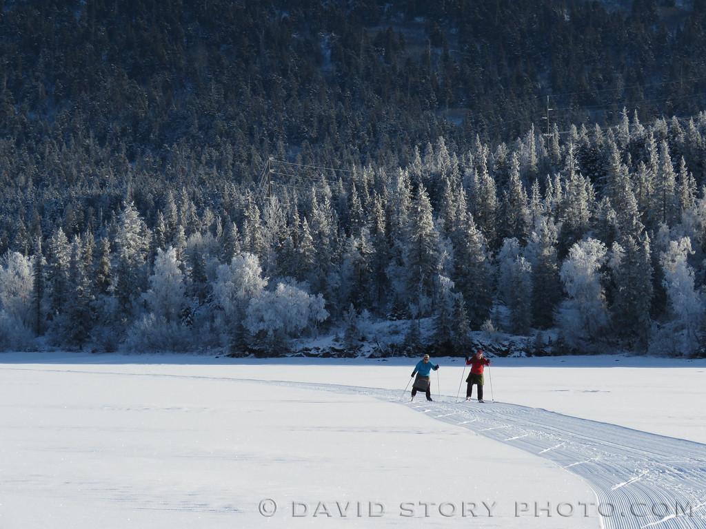 Skating groomers on Upper Trail Lake. Moose Pass, AK