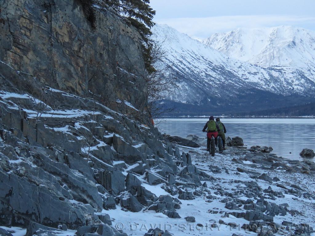 Pedaling Kenai Lake's shore. Cooper Landing, AK.