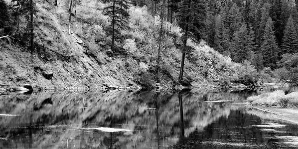 03 Nov 15	Each time we make our annual run to Leavenworth there are a number of regular stops we make for me to take photos. We make many others, but there is a half dozen I always shoot. One of those is a small lake formed by the damming of the Wenatchee River immediately upstream, obviously, of a dam. This shallow lake is maybe 300 yards long at most, and perhaps 50 yards wide at its widest point. Beyond that it once again becomes the narrow and shallow river it was before the dam was constructed. The dam provides a tiny bit of power but is mostly used for the monitoring of the Steelhead Salmon that spawn in the river. I've shared a couple other shots of this lake in the past so some of you may remember it. Just beyond the right hand edge of this shot is a store and on the opposite side of the lake, the road side, is a big parking lot.  The base image was adjusted for max tonality, and at that point I stopped.  Nikon D300s; 18 - 200; Aperture Priority; ISO 400; 1/125 sec @ f / 8.