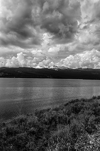 30 Aug 16.    Lake Hebgen is the large lake the lies adjacent to the property on which sits the condo. It is actually just a big aneurysm of the Madison River caused by the building of a dam downstream. The lake is huge and abounds with trout. BIG trout weighing up to 12 pounds. So it is a huge attraction for those who like to wet a line where it is catch and fry, not catch and release. The shore of the lake is also home to a large number of bison, and it is generally not too hard to find several of the beasts whenever you are anywhere near the lake, and that includes the location of the condo and neighboring homes. On the day this photo was taken the weather was threatening to become nasty and while it did turn a bit inclement, it never got as bad as the clouds in this capture suggest it might. With the firs burning not to many miles distant from this site, I was thinking about how it might look at night if we were there now. With the right winds and a sufficient amount of smoke, I'm wondering if there might be some interesting photo ops. I'll assume if there were they likely wouldn't make for good B&W images, but I can see the potential for some serious sunset shots. This was a mid-day capture so no spectacular color, but a combination of yellow grasses and blue skies did make for a nicely colored landscape. This was taken in-between groups of grazing bison.  The base image was cropped a small amount and then I used a B&W plug-in to do the conversion.  Nikon D300s; 18 - 200; Aperture Priority; ISO 200; 1/5000 sec @ f / 5.6.