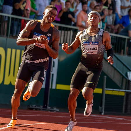 Trayvon Bromell makes it, Mike Rogers just misses