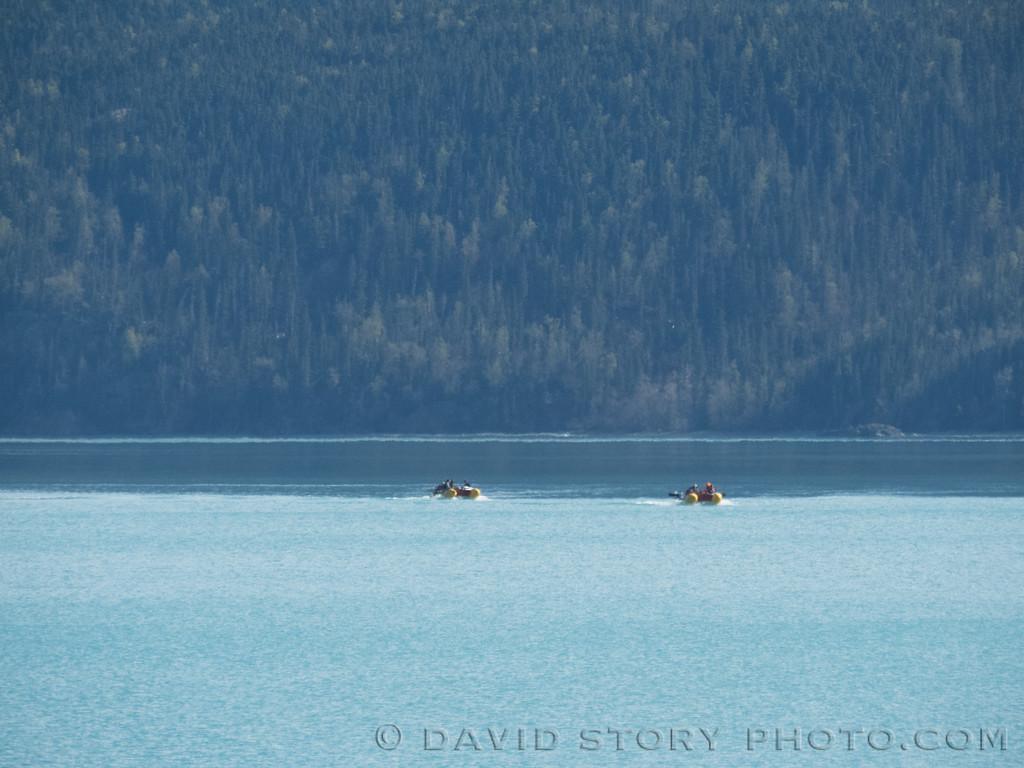 2017 05 11: Rafts crossing Skilak Lake, AK.