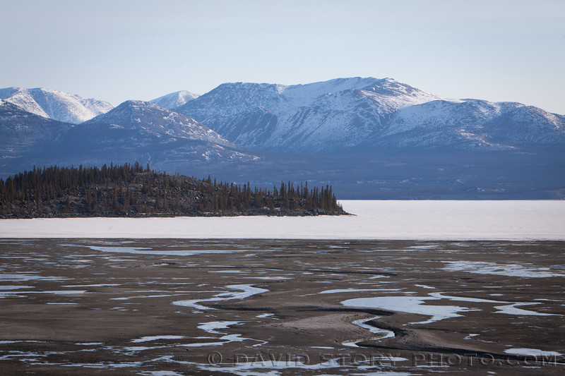 2017 04 11: Low water levels in Kluane Lake. Kluane National Park, Yukon, Canada.