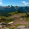 26 Apr 17I thought I'd invite you to go on a walk with me today to see a bit of the Alpine region of the Cascades. We'll take the walk from Paradise Lodge to Panorama Point, a modest round trip trek of just 6 miles starting at 5,400 feet and reaching roughly 7,000 at our destination, so just a bit over 1,500 feet of altitude change which makes for an enjoyable hike. When we get to the top not only can you look down onto some absolutely luscious green valleys, but you can see both Mt Adams and Mt St Helens without having to scan. In this image you have Mt Adams to the left and Mt St Helens to the right. Not many places where one can experience such beauty and all without much effort. Didn't have a lot of company the day I made the hike, you can see the only other two people on the trail, both in red, so I didn't have to deal with folks getting in the way when taking pictures nor was I going to interfere with their enjoyment of the area. This is the kind of photography that I truly love, getting out in the wilds with virtually no others and just absorbing the beauty of this wonderful creation we call earth. For any of you in my part of the country who haven't made this wonderful day trip, and who enjoy communing with nature, I highly recommend you consider spending a day visiting Panorama Point. You won't regret it!<br /> <br /> This started out a s three images which I combined to get the best set of highlights, mid tones, and shadows. You might consider it a simple HDR approach. I then gave it a little contrast adjustment, just enough to bring out the textures a we bit, and finally I brushed in the clouds as that entire day there wasn't a single one to be seen. Could have skipped the clouds, but I found the pure blue sky very boring. Nikon D300s; 18 - 200; Aperture Priority; ISO 400; 1/640 sec @ f / 9 on a tripod.
