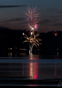"""06 Jul 17Last night our """"local"""" camera club hosted a fireworks shoot at a member's home. It was a beautiful setting and there were about 2 dozen folks in attendance. A pretty quiet group who were mostly interested in chatting about photography and food. Lots of wine was flowing to accompany many wonderful deserts and fruit, but I was good and refrained from indulging. Maybe it was the nasty wreck of a burnt to a crisp vehicle and melted highway I encountered on my way that had some influence. In any event, I had a good time and hope the club does it again next year. While I've puttered around taking a shot now and then over the last decade at 4th of July gatherings at my cousin's, I hadn't really done any serious fireworks photography since I was stationed at Pt Mugu in the early 80s when I could sit atop my APTU building and shoot unobstructed from the roof. Of course that was back in film days so I never knew what I was getting until I had the film developed. NOW things are very different, and so I decided I'd try skipping the single shot single exposure as I did in the past and go for long exposure multiple burst shots. This would be my first attempt at something like that so I elected to do just that for the evening. It wasn't as productive as I would have liked for several reasons among them being that I wasn't in the greatest position on the bank, but it was fun and I did get about 6 shots I liked. This is my favorite of the bunch so I thought I'd share it as a belated 4th of July image.  This has been cropped some but not much and is otherwise pretty much straight from the camera. ISO 200; 14 sec @ f /20."""