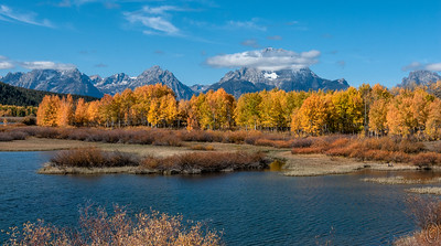 13 Sep 18	Although it's Theatrical Thursday nothing creative today other than being able to tease so much more out of an old image compared to what I could do when I took it 11 years ago. This is Ox Bow Bend which I believe is the most photographed location in all of Grand Tetons National Park. Should you go there look for the tripod holes from other photographers just in case you want to copy their shot(s). This was taken in late morning as the storm which had been deluging us for the prior three days was finally breaking up. I spent the better part of 2+ hours just waiting for it to clear this much hoping for a mountain free of clouds but it never happened. This is as good as it got while we were still there. I'm wagering the following day it was a generally cloud free day, things work that way, but this was pretty close to what I was looking for. Of course, here it comes, if only that Lenticular cloud have been positioned over one peak to the left, this shot might have been a prize winner, but it wasn't. Had we not encountered that storm I'm thinking we would have had an absolutely fantastic 3 days, but you take the weather as it comes and do the best you can with it. Overall it wasn't a total loss and we did get to see some vibrant aspen color.  I've cropped some of the top, otherwise this is a straight photo.  Ox Bow Bend at Peak Color    Nikon D200; 18 - 200; Aperture Priority; ISO 200; 1/500 sec @ f / 9.