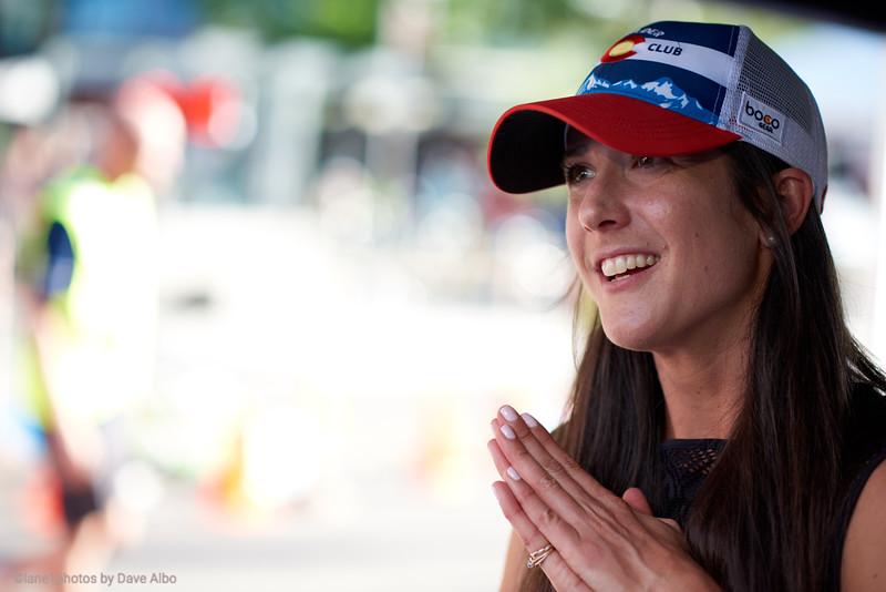 Laura Thweatt works the race
