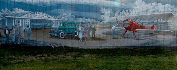 06 Aug 19	I didn't send anything for Monday as I was a fair bit under the weather; maybe a make up later in the week.  About two blocks away from where we stayed in Eureka on the way south there was a building with a nice aviation mural on its side but one which was beginning to show its age some. When I went to grab the shot there was a local sleeping on the ground with all his possessions. I decided to take the shot with him in it but when he realized I was planning on shooting the mural he immediately moved apologizing for being where he was. This was one time I think I would have preferred having a human in my shot, just for the contrasts. Although I did a search for info on this airfield I was unable to learn anything about the painting but I'm guessing it dates to the forties. The last time I shared an image of a painting I got a lot of flak for using another's work but as I'm identifying what this is I should think it O.K. Besides, I've feel like I've improved it some by returning it to how I think it likely looked when freshly painted.   I've cropped the original to keep just the mural and a little grassy foreground and nothing more plus removed a pole that didn't help any. Building Mural Nikon D500; 18 - 200; Aperture Priority; ISO 200; 1/250 sec @ f / 9.