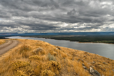 30 Jan 19The construction of the Hebgen Dam backed up the Madison river for several miles and in the process created Hebgen Lake which at its eastern end has two arms, called Grayling Arm and Madison Arm. Our condo sits on a neck of land between the two. It's a short drive to either arm and in fact not a long walk to the Madison arm side. The Grayling Arm side is host to a state campground called Rainbow Point while the Madison Arm side provides a potholed drive up a steep hillside called Horse Butte which provides for some spectacular views, especially of the Madison Arm portion of Hebgen Lake. Both sides provide access to launch your boat for some fantastic trout fishing! And while it's catch and release inside the park, it's catch and fry outside!! Today's submission is a view from the top of Horse Butte looking east toward Yellowstone National Park on the left edge of the image. It was a rather stormy day when we were visiting and we didn't stay long, but long enough to get a few nice images.  This is what the camera recorded. Madison Arm Lake Hebgen  Nikon D500; 18 - 200; Aperture Priority;  ISO 200; 1/800 sec @ f / 9.
