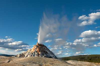 09 Oct 19	Today we'll continue our drive along Firehole Lake Drive and stop at the last of the geysers, White Dome Geyser. This is one that erupts with a fairly regular schedule although this was the first time it chose to do it while we were standing there. It put on almost a ten minute show and I got to get several captures of the water in various configurations. The background clouds were a nice touch; all I needed was one of the bison that usually frequent the location to get in the frame but on this visit the bison had other plans. This is a nice little drive and one could easily walk it if looking for a leisurely way to spend an hour or more depending on how much time you spent at each attraction. For those of you contemplating a visit put this short drive on your bucket list.  This is straight from the camera save for a wee bit of dodging and burning. Blowing Off Some Steam  Nikon D500; 18 - 200; Aperture Priority;  ISO 200; 1/800 sec @ f / 9.