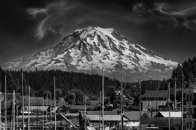 """06 Oct 21It was decided that I should share with you the B & W version of the shot of """"our"""" mountain. Not a lot more to say about it other than once again this is one of those shots that you can take by parking your vehicle, getting out, and walking to the water side of the sidewalk. Then just point the camera and press the shutter. The marina is literally right in front of you. You could walk along the sidewalk for a distance, maybe 4 blocks if that, cross the street, walk up a long set of steep stairs, and get a much different look, the one most often shared, but I actually prefer this location when the weather is cooperating, such as it was on that day.  Same info as yesterday save for the conversion to B & W using the nik plug-in Silver Efex Pro 2.  Approaching Ansel  Nikon D500; 18 - 200; Aperture Priority; ISO 200; 1/640 sec @ f /11."""