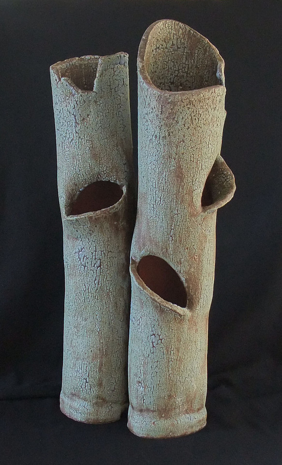 """#980 3 tube planter - each tube is 2 1/2"""" round and has 2 pockets, 16"""" tall"""