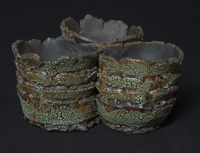 "#920 3 pocket pot - 8"" across - pockets are 3 1/2"" inside diameter, 3"" deep, 3 3/4"" tall. ***SOLD***"