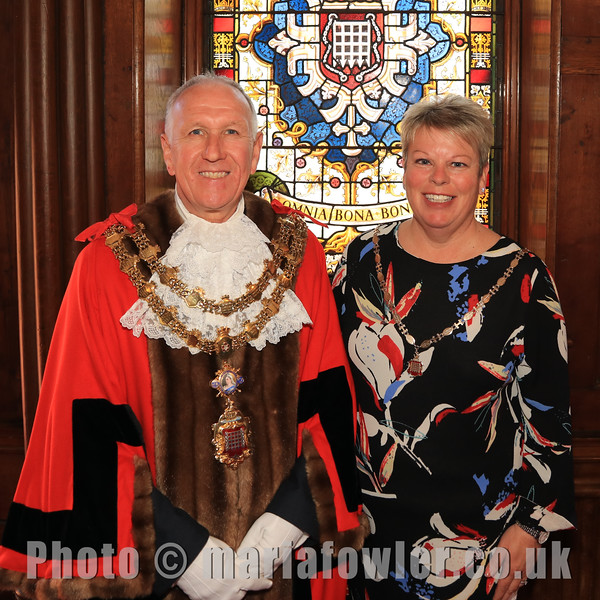Mayor of Harwich, Cllr Ivan Henderson and Mayoress , Cllr Jo Henderson. The Council Chamber at the Guildhall, Harwich - Copyright © Maria Fowler 2021