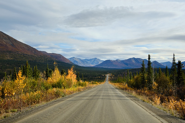 The start of the dirt portion of the Denali Highway near Cantwell, Alaska.