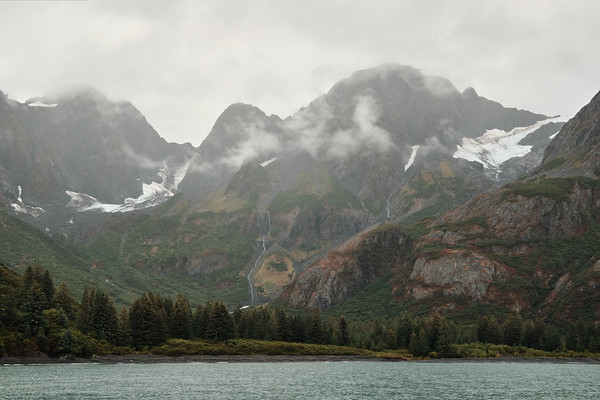Clouds and drizzle in the Holgate Arm of Aialik Bay, near Holgate Glacier, Kenai Fjords National Park.