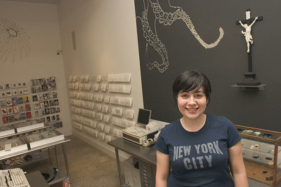 Destiny Gonzalez (artist who made installation behind her)
