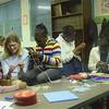 Artistic Journeys at Grosvenor House knitting with children.