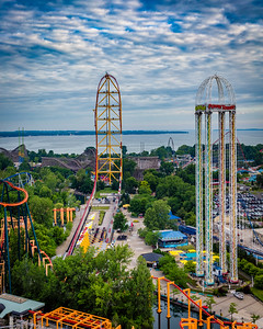 Dragster and Power Tower from atop Valravn
