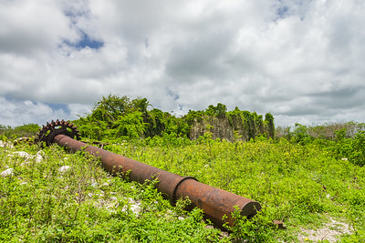 An old gear in front of the factory at Betty's Hope, where the rum was made