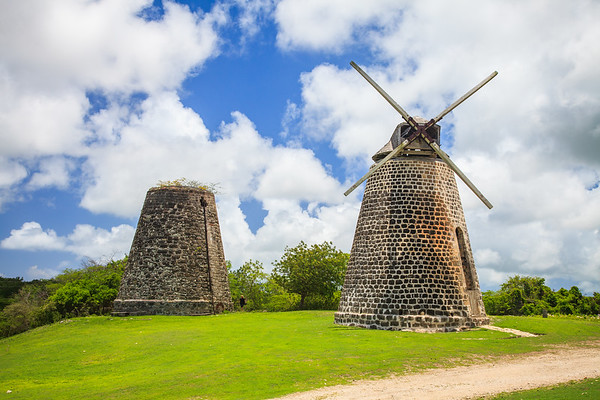 The recently restored windmills at Betty's Hope Plantation