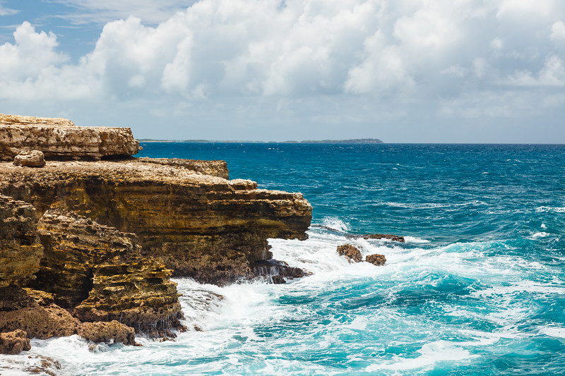 The rough seas and landscape near Devil's Bridge, Antigua