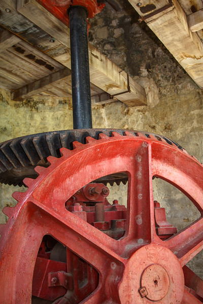 Restored gears inside the windmills of Betty's Hope Plantation