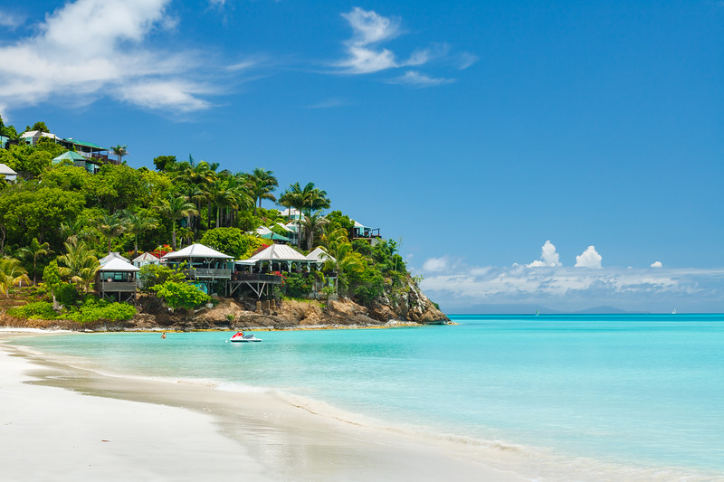 Jolly Beach Resort, Antigua, with Guadeloupe in the distance