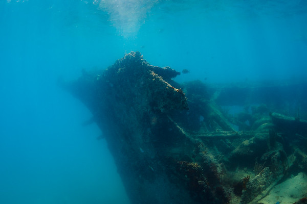 The Andes lies at the bottom of Deep Bay, Antigua.  Burned and sank in 1905