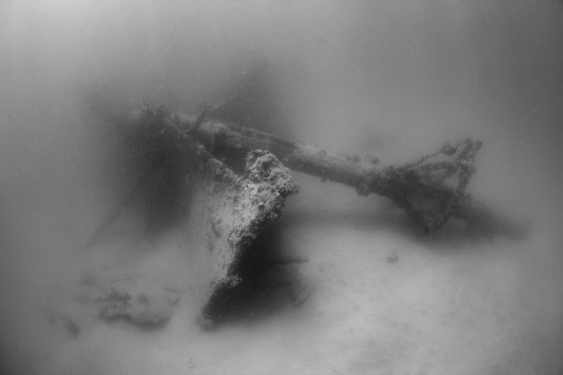 One of the masts and crow's nests near the stern of the Andes.  Burned and sank in 1905