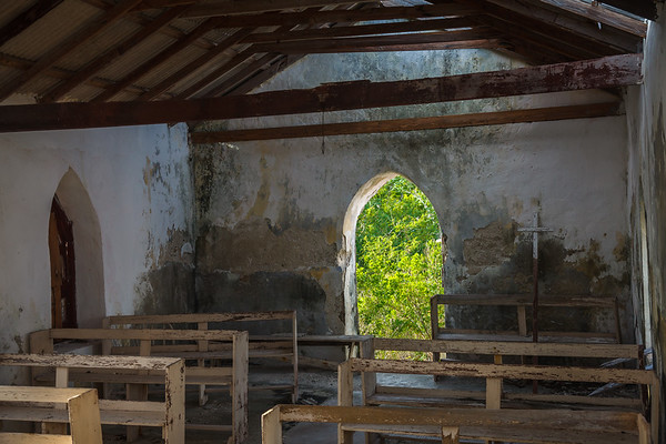 Inside the old Anglican Church in Bennett's Settlement, abandoned after a declining population and hurricane devastated it in the late 1980s