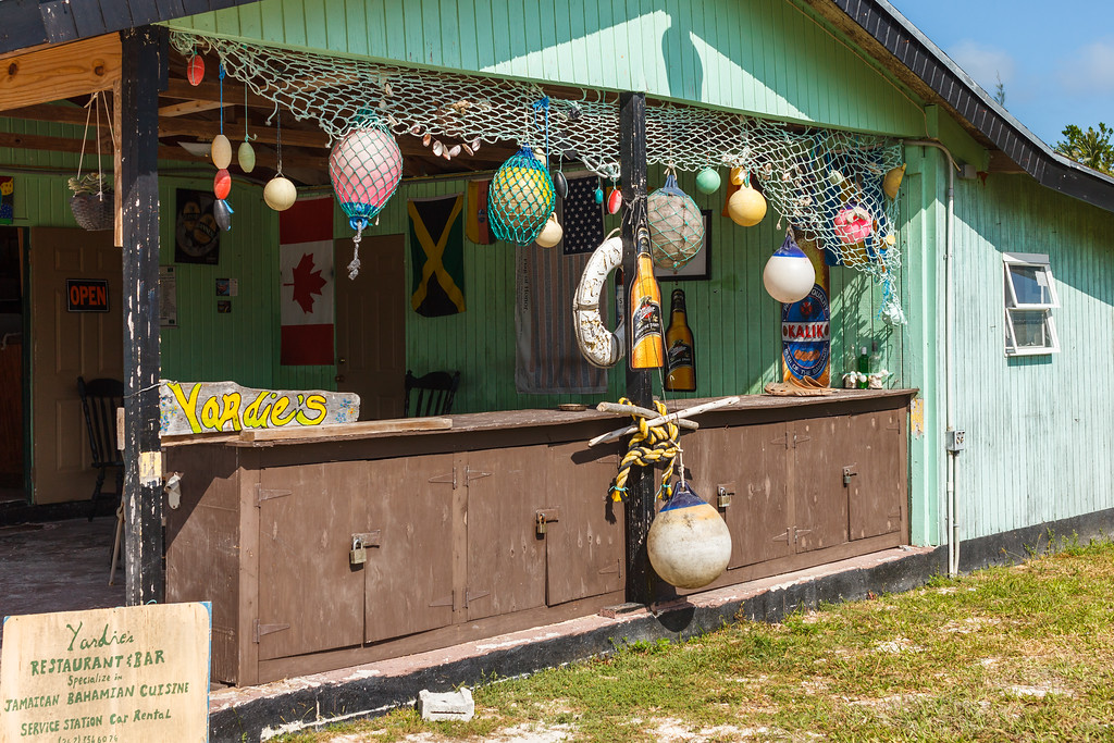 Yardie's Restaurant, the local hangout in Bennett's Settlement where you can get Jamaican & Bahamian food including great conch salad, beer, liquor, gas, rental cars, and ice cream