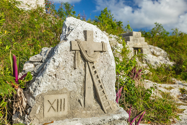 Father Jerome's Stations of the Cross, carved into the steep stone below the Hermitage