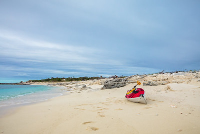 Kayak beached on the southwest side of Conception Island