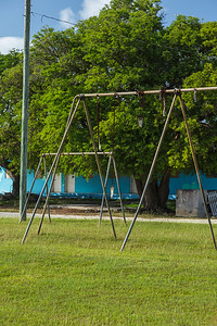 Like everything else in Rock Sound, even the children's swings have fallen into disrepair