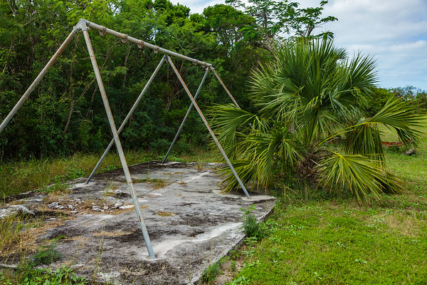 Old playground equipment in Rock Sound's Ocean Hole Park