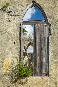 Shuttered window at St. Mary's, The Bight, Long Island