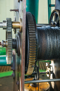 The gears and cables that turn Hope Town's manually operated lighthouse