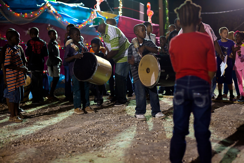 These kids are training to be Junkanoo drummers when they're older, and start competing at a young age