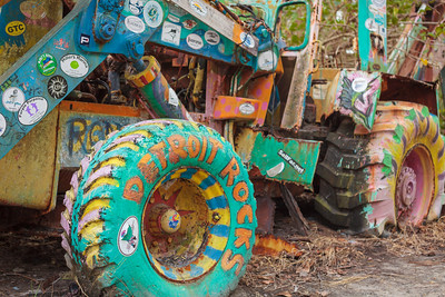 Visitors have decorated this tractor over the years on their way to the famous Nipper's beach bar