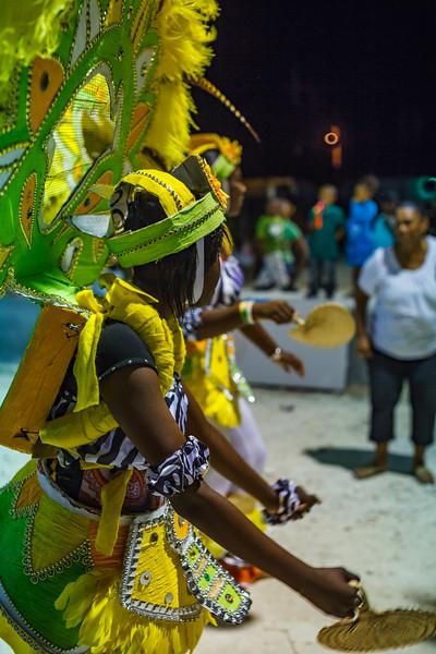The colorful costumes of Marsh Harbor's small Junkanoo Parade, a Bahamian tradition three hundred years old