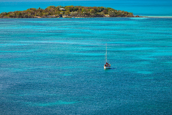 Saoirse anchored in the Sea of Abaco, as seen from Elbow Cay Lighthouse