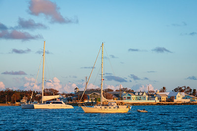 Boats anchored in front of New Plymouth, Green Turtle Cay, Abaco, Bahamas.