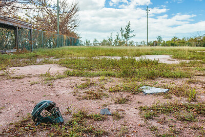 The overgrown ball field near New Plymouth, Green Turtle Cay