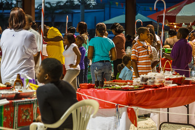 Crowds and food vendors at the Abaco Christmas Festival