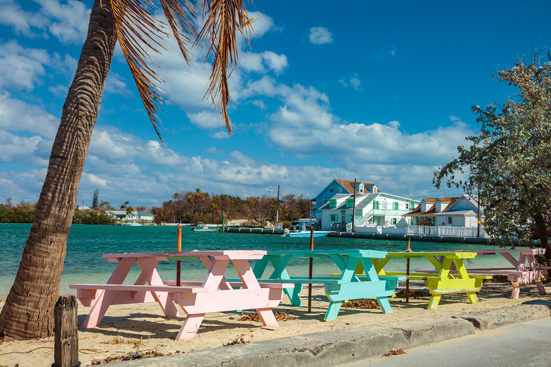 Picnic tables in front of Harveys restaurant in New Plymouth, Green Turtle Cay.