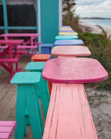 Seats at Nippers on Great Guana Cay overlook the ocean and reefs