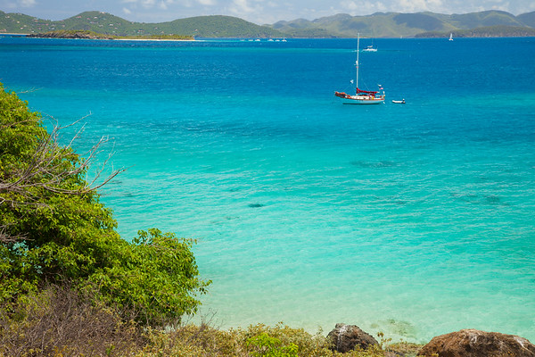 Saoirse anchored off of Little Jost Van Dyke, with Tortola and St. John in the background