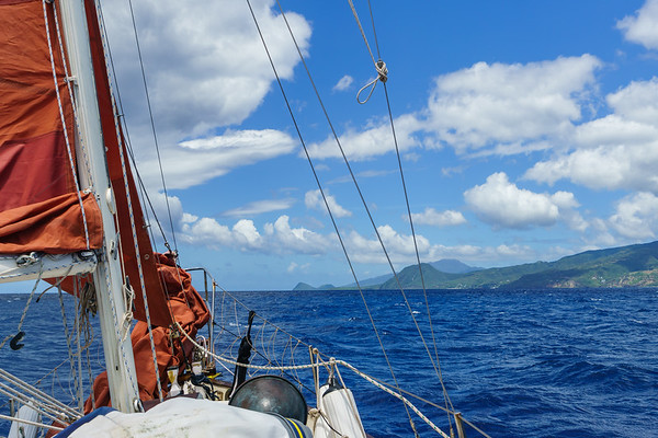 Sailing into the lee of Dominica - finally some calmer water!