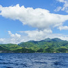 Terrain of Dominica from the coast.